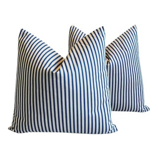 "24"" Custom Tailored Blue & White French Ticking Feather/Down Pillows - Pair"