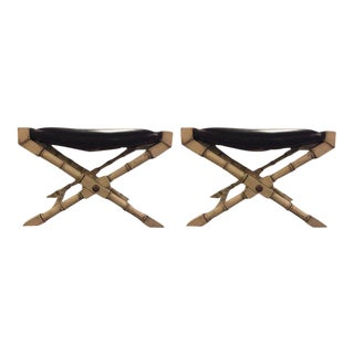 Hollywood Regency Style Faux Bamboo X-Form Benches - A Pair