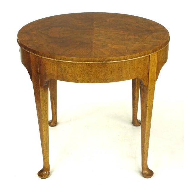 """Baker Furniture """"Milling Road"""" Figured Walnut Regency Side Table - Image 4 of 10"""
