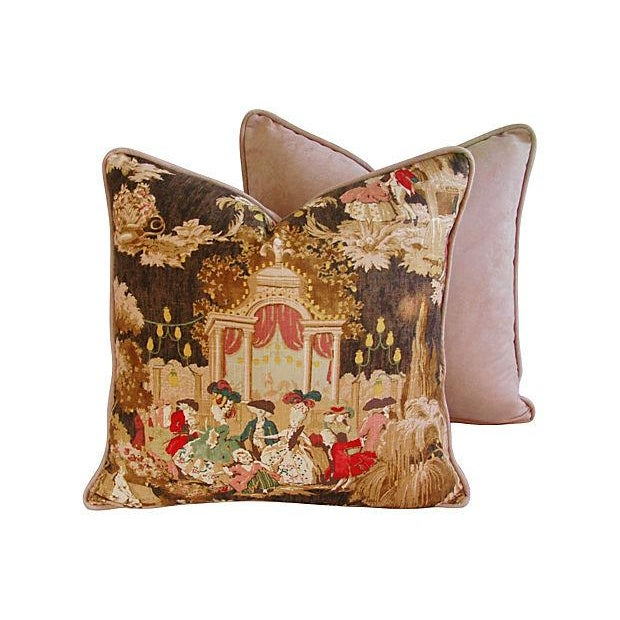 Designer French Versailles Toile Pillows - Pair - Image 6 of 7