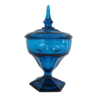 Mid-Century Peacock Blue Candy Jar