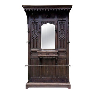 Antique Gothic Carved Walnut Hall Tree