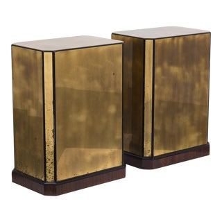 A Pair of Brass Veneered Drexel designed Table Bases/Pedestals 1970s