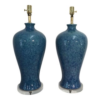 Mid-Century Glazed Lamps - A Pair
