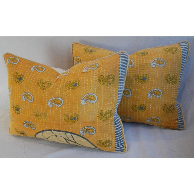 Custom Boho-Chic India Kantha Textile Pillows - A Pair - Image 8 of 10