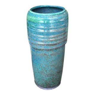 Turquoise Ribbed Vase