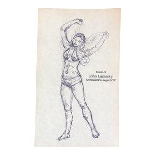 Vintage Original Ink Sketch