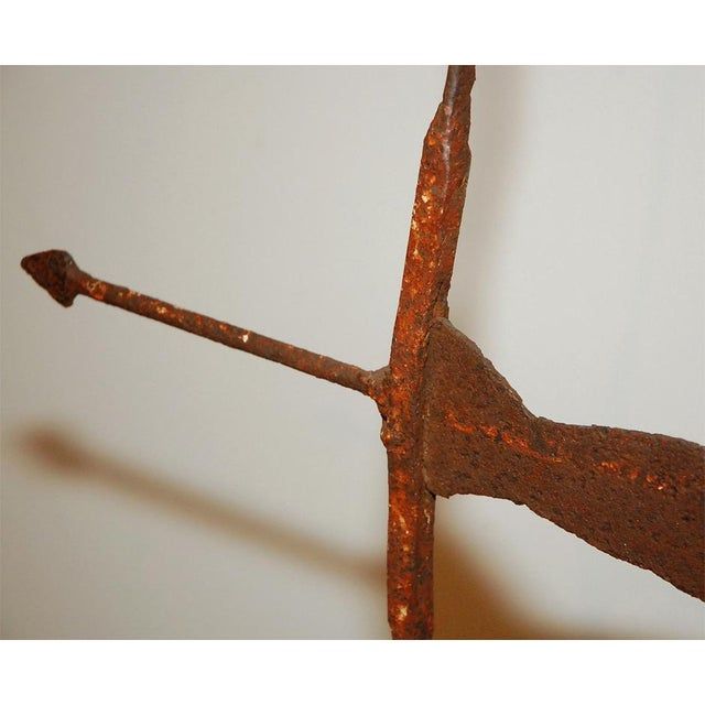 Rare 19th Century Original Painted Iron Indian Weathervane with Stand - Image 7 of 8