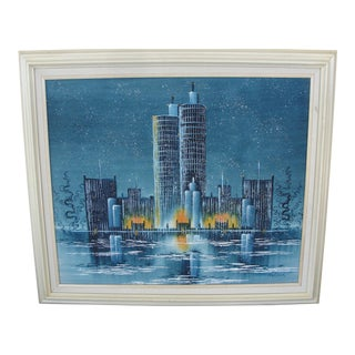 Vintage Mid-Century Night Cityscape Oil Painting