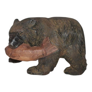 Monumental Hand-Carved and Painted Black Bear