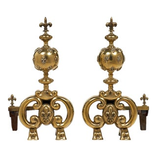 Antique French Fleur-de-lis Andirons