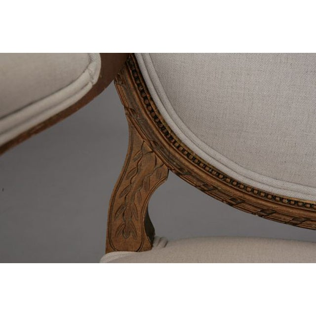 Louis XVI Oval Back Gilded Fauteuils - A Pair - Image 9 of 9