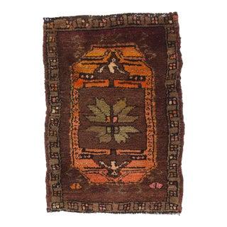 Vintage Turkish Brown & Orange Rug - 2′ × 2′11″