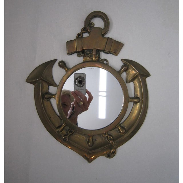 Vintage Brass Anchor Mirror - Image 3 of 5