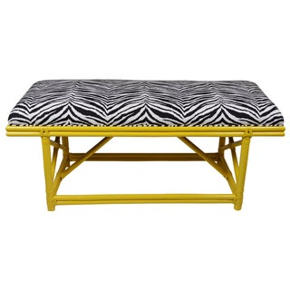 Ficks Reed Royal Palm Yellow & Zebra Bench