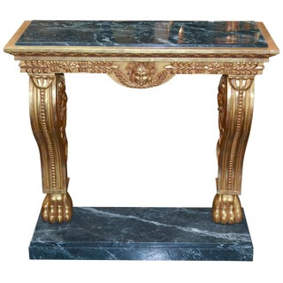 Continental Giltwood & Verde Marble Console