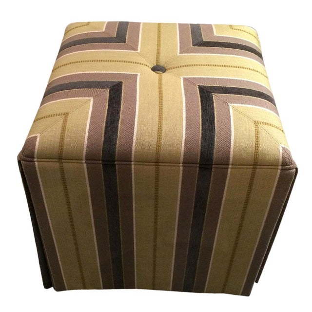 Pair of Upholstered Striped Cube Ottomans - Image 1 of 6