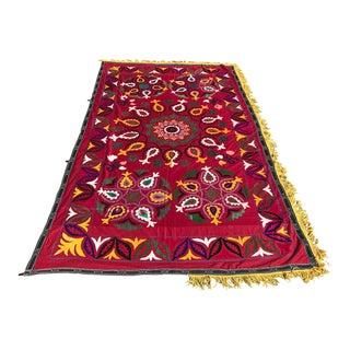 Handmade Red & Yellow Suzani Bedspread