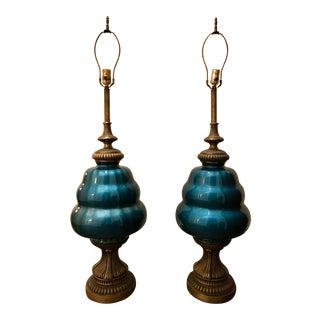 Antique Blue Brass Extra Tall Lamp - A Pair