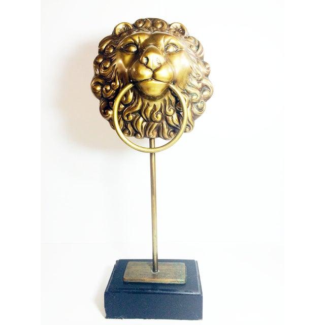 Vintage Lion Head Doorknocker on Wood Stand - Image 2 of 5