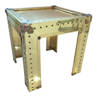 Sarreid Style Brass Studded Side Table