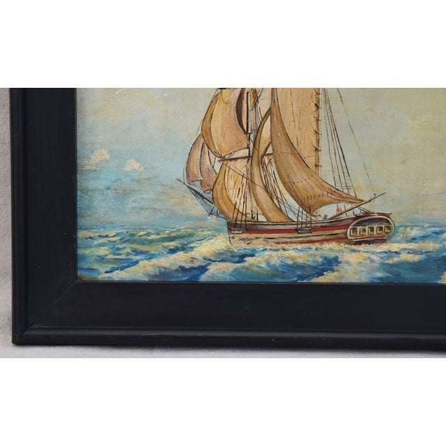 Framed 1940s Sailing Ship Oil Painting - Image 8 of 11