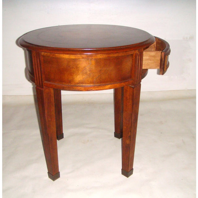Round Side Table with Inlaid Top - Image 5 of 7