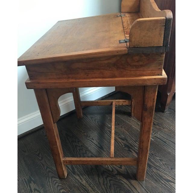 Antique Country Pine Slant Top Children's School Desk - Image 10 of 11