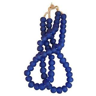 Jumbo Cobalt Blue Glass Beads - A Pair