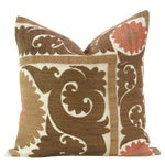 Brown Vintage Suzani Square Pillow