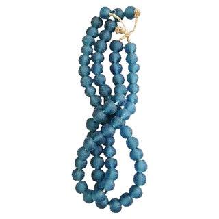 Steel Blue Jumbo Sea Glass Bead Strands - a Pair