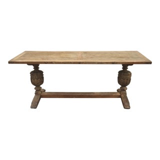 Antique Jacobean Style Carved Washed Oak Trestle Table