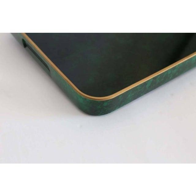 Fantastic Otagiri Faux Lacquered Malachite Gilt Rimmed Serving Tray - Image 2 of 3