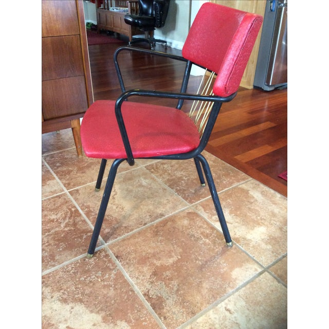 Mid-Century Red Vinyl Dining Chair - Image 4 of 8