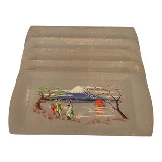 Set of 5 Matching Geisha Girls and Mount Fuji Serving Trays by Kentley USA