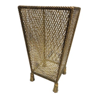 Vintage Hollywood Regency Gold Leaf Umbrella Stand