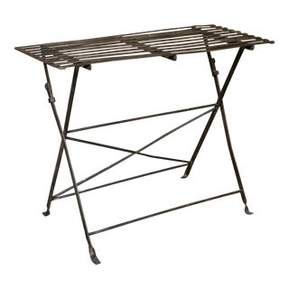 Vintage Iron French Folding Table with Metal Slats