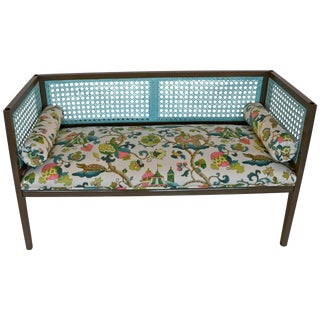 Mid-Century Modern Lacquered and Upholstered Regency Style Settee