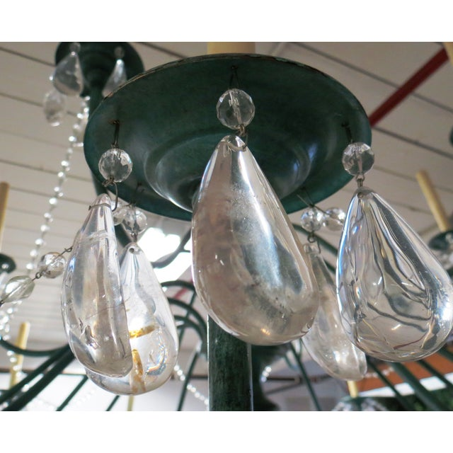 Green Copper Chandelier With Crystal Accents - Image 6 of 8