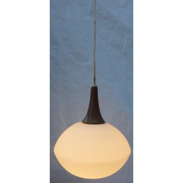Image of Mid-Century Walnut and Glass Pendant Lamp