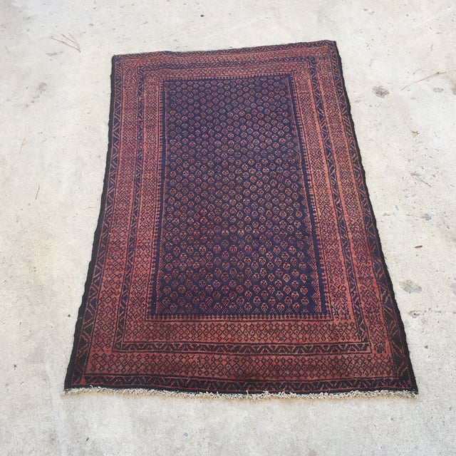 50 Year Old Persian Beluch Rug 33 1/2 X 56""