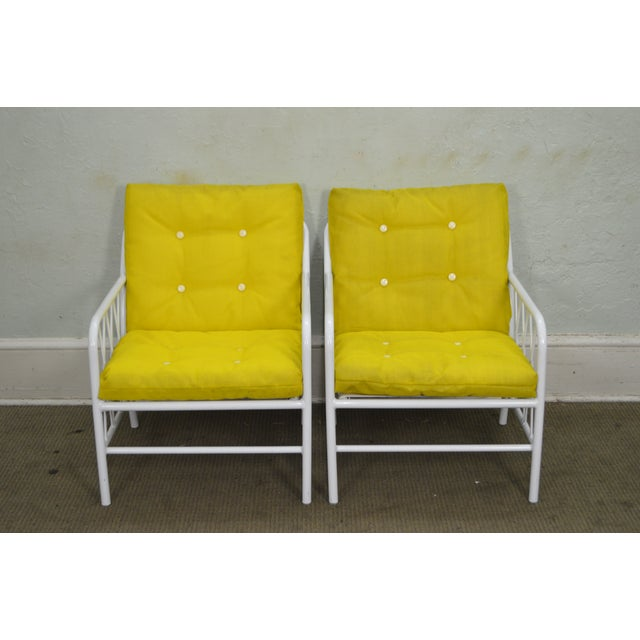 Brown Jordan Style Mid-Century White Patio Lounge Chairs - A Pair - Image 2 of 10