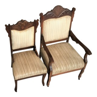 Victorian Eastlake His & Hers Chairs - A Pair