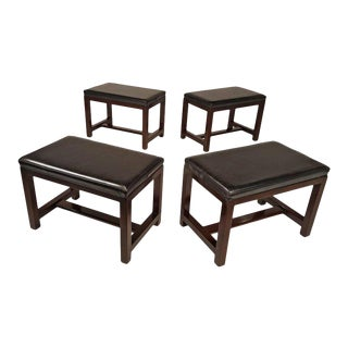 Two Pairs of Solid Mahogany Stools by Edward Wormley for Dunbar
