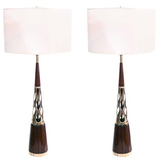Pair of Tony Paul Walnut and Brass Lamps
