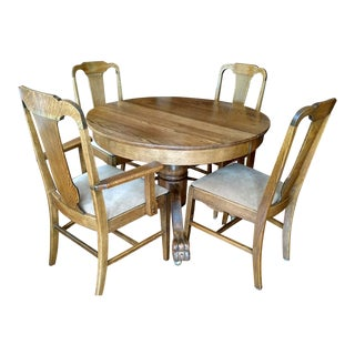 Antique Claw Foot Dining Table & 4 Chairs