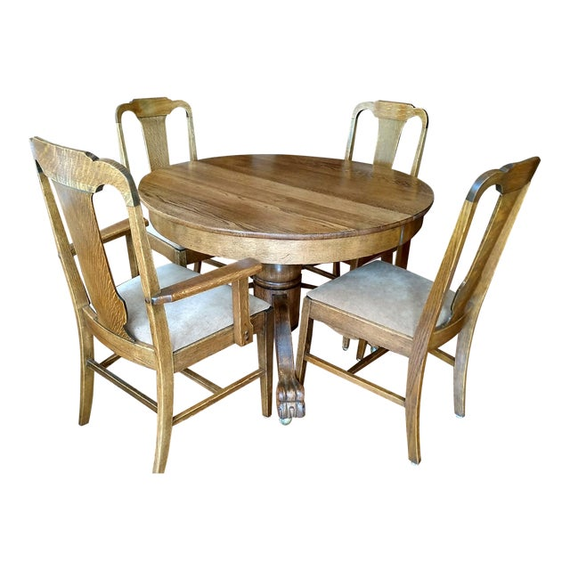 Antique Claw Foot Dining Table & 4 Chairs - Image 1 of 11