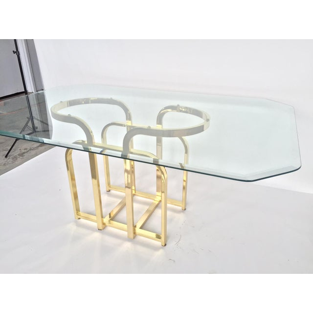 Glam sculptural glass brass dining table chairish for Glam dining table