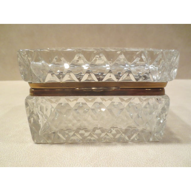 Large Cut Glass & Brass Antique French Vanity Box - Image 3 of 7