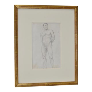 Figural Standing Nude Pencil Drawing